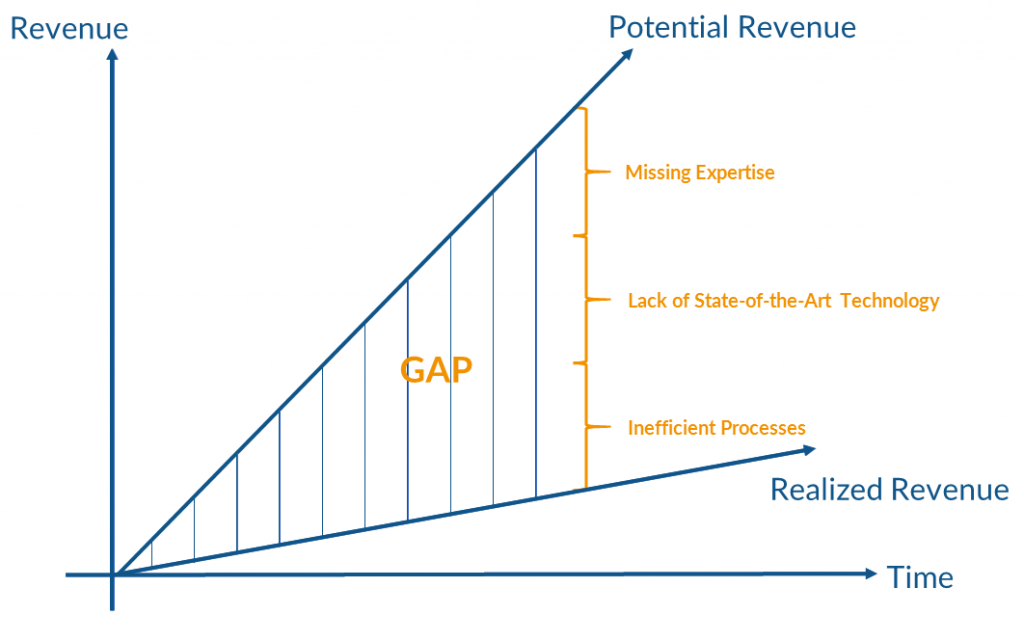 Gap between realized and potential revenue