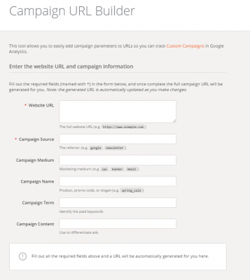 Campaign URL Builder von Google Analytics
